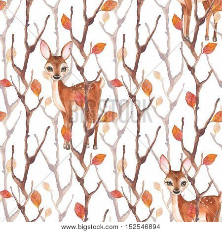 Watercolor  seamless pattern with fawn and autumn forest. Hand drawn background 1