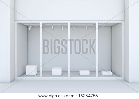 Shopfront with large windows. White store facade. 3d rendering