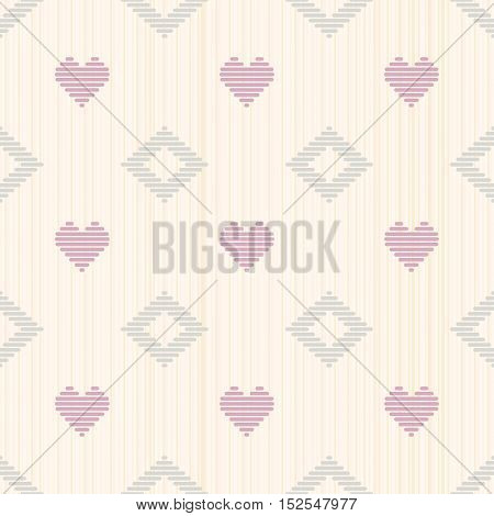 Pale Romantic Background With Hearts. Seamless.