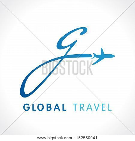 G fly travel company logo. Airline global business travel logo design with letter