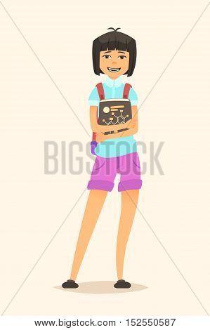 Schoolgirl with book in hand. Illustration of a cartoon character. Vector flat design.