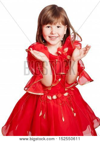 laughing girl clapping hands wearing holiday red dress isolated