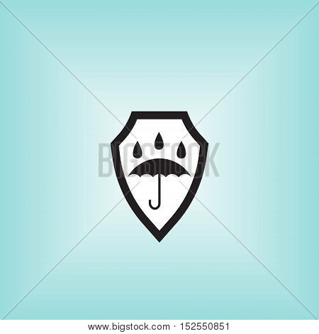 Waterproof vector icon. Isolated waterproof vector sign. Water proof vector illustration logo. Umbrella vector sign.