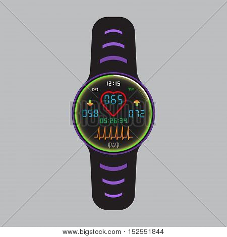 Smart watch icon with pulse monitor application. Smart watch vector logo. Vector eps10 illustration. Heart beat symbol. Arrhythmia indicator pictogram. Isolated smart watch sign. Glowing smart watch.