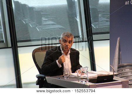 London, 19th October 2016 - Sadiq Khan, the Mayor of London, appears before the London Assembly in the chamber of City Hall, on the banks of the River Thames