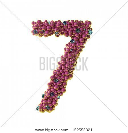 bubbles numbers 7, seven, 3d illustration