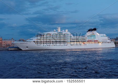 ST. PETERSBURG, RUSSIA - MAY 17, 2016: Cruise liner Seabourn Quest moored at English embankment. The ship built in 2011 provides luxury cruise for 450 guests