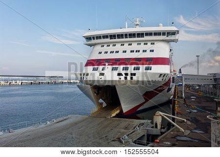 TALLINN, ESTONIA - AUGUST 20, 2016: Ship Baltic Queen loading in the terminal D of passenger port. The ship was built in 2009 and has passenger capacity of 2800