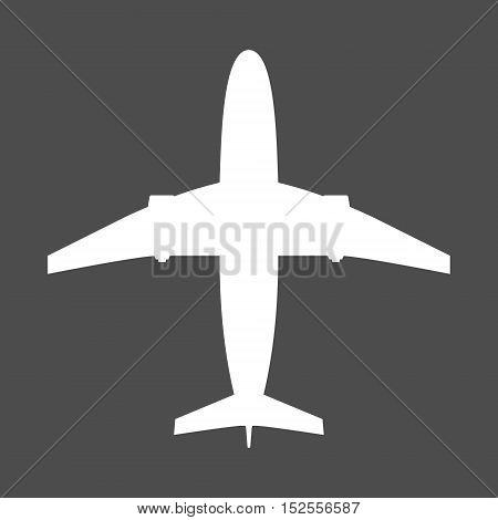 Very simple airliner icon. Aircraft in white color. The plane is in symetric projection. Isolated vector symbol. Can be used as iconfor example on website.