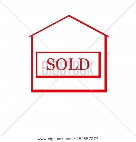 Red sold house. Flat design. Vector Illustration
