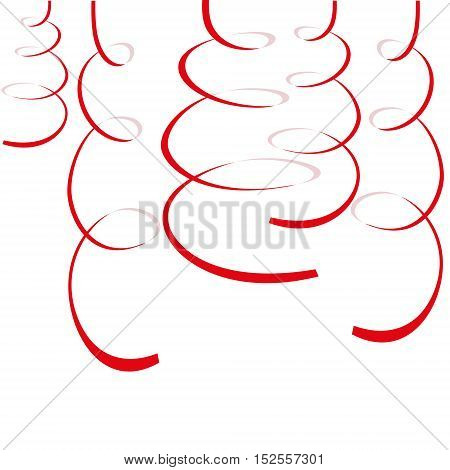 Red paper streamers isolated on white background