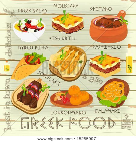 Greek Food Menu Card with Traditional Meal on White Wooden Background. Greek Cuisine. Food Collection. Vector Illustration.
