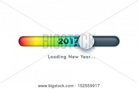 Creative colorful slider with text 2017 on white background for Happy New Year celebration.