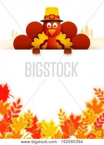Cute Turkey Bird behind maple leaves decorated blank board, Can be used as greeting card or invitation card design for Happy Thanksgiving Day celebration.