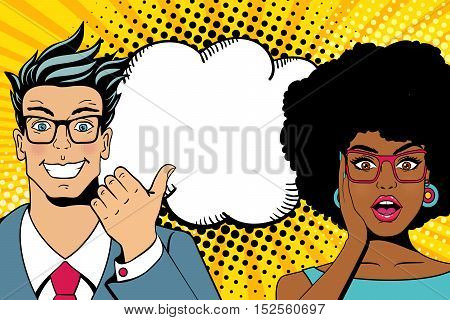Wow Couple Faces. Handsome Happy Young Surprised  Man And Sexy Woman In Glasses With Open Mouths And