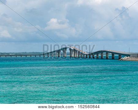 Irabu Bridge in Miyako Island of Okinawa, Japan.