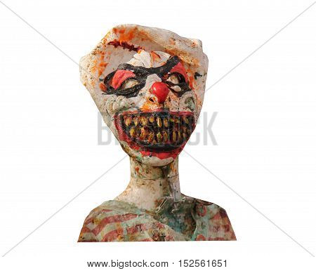 The Scary Face of a Frightening Crazy Clown Mannequin.