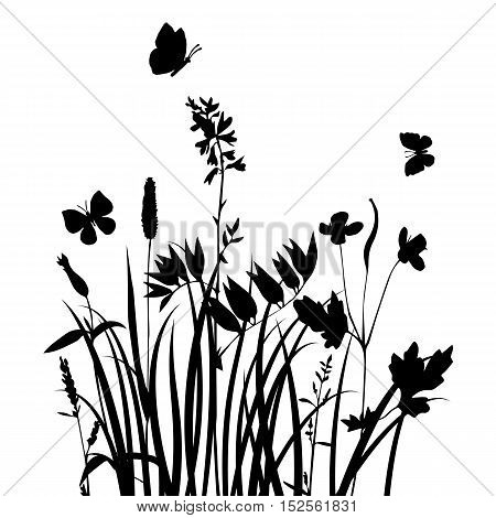 vector silhouettes of flowers and grass with butterflies, background with wild plants and insects, herbal backdrop, black monochrome floral template, hand drawn illustration