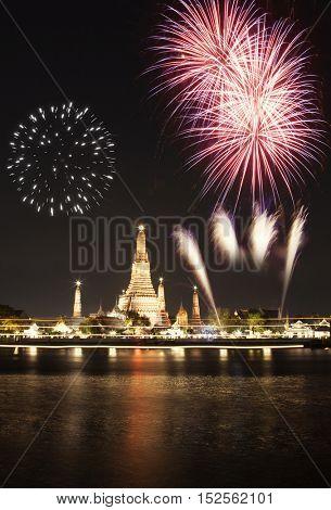 exotic new year - Bangkok new year countdown fireworks at Wat Arun Temple, Bangkok, Thailand.