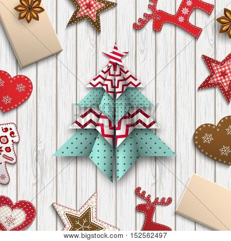 red, white and blue origami tree on gray wooden background lying among small farmhouse decorations, abstract christmas theme inspired by flat lay style, vector illustration, eps 10 with transparency and gradient meshes