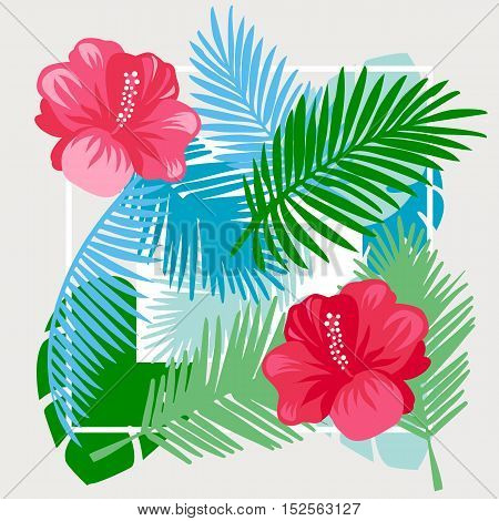 Tropical floral vector background. Summer design. Exotic tropical flowers.