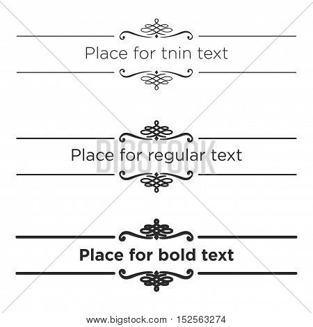 Retro text dividers set. Vintage border elements. Different size of stroke for thin, regular and bold text