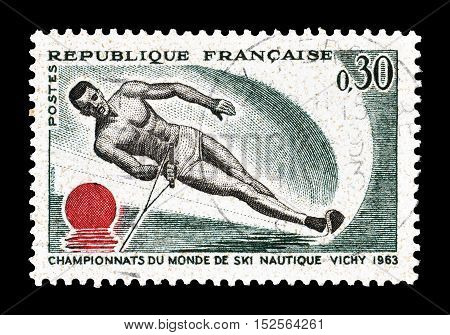 FRANCE - CIRCA 1963 : Cancelled postage stamp printed by France, that shows Water skiing.