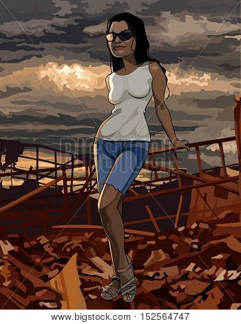 cartoon woman stands on the ruins post-Apocalypse