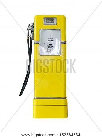 Old yellow petrol gasoline pump isolate on white background