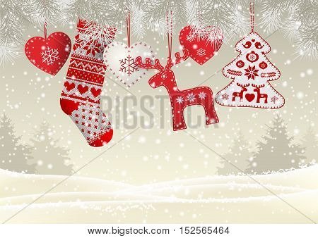 Red knitted christmas stocking with nordic patterns, with some scandinavian traditional decorations hanging on branches in front of simple winter landscape, vector illustration, eps 10 with transparency and gradient meshes