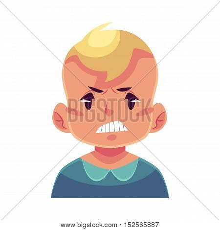 Little boy face, angry facial expression, cartoon vector illustrations isolated on white background. Blond male kid emoji face, feeling distresses, frustrated, sullen, upset. Angry face expression