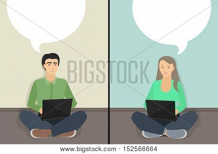Chatting man and woman chatting. Vector illustration of a flat