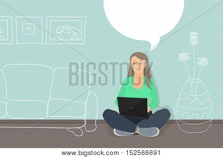 Woman with laptop chatting choose the furniture for her room. Purchase of furniture interior design.
