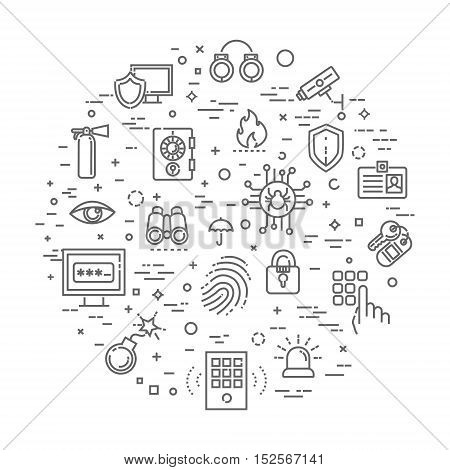 security icons isolated over white background. vector