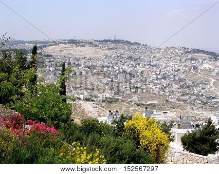 The view from Haas Promenade in Jerusalem Israel May 16 2005