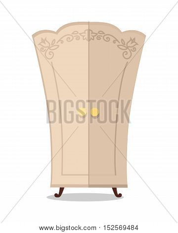 Wooden beige cupboard closeup. Classic wooden furniture with ornaments.