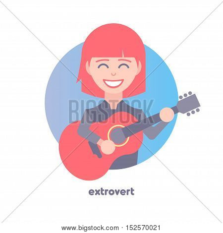 Extrovert image. Behavioral type. Flat icon of girl playing the guitar.  Modern vector illustration of woman with red hair. Image is out of circle range.