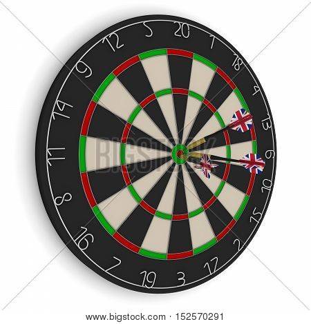 Dart Board With Three Uk Flag Darts In Bullseye Isolated On White 3D Illustration