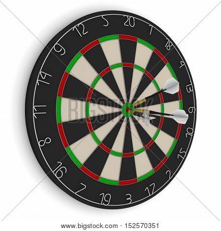 Dart Board With Three White Darts In Bullseye Isolated On White 3D Illustration