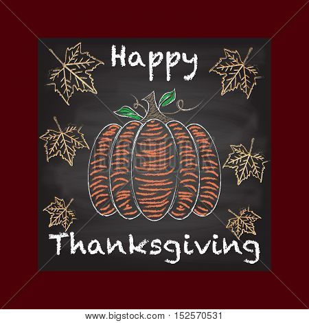 Happy Thanksgiving background, Chalkboard with colorful leaves and pumpkin with Happy Thanksgiving sign Burgundy gradient border.
