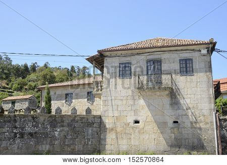Stone building and traditional Galician granery in Hio a village of the province of Pontevedra Galicia Spain.
