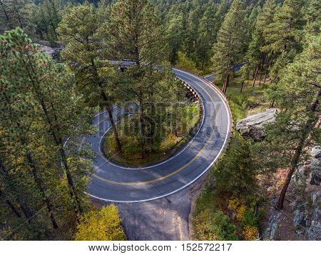 Pigtail bridge along the Needles Highway in the Black Hills of South Dakota poster