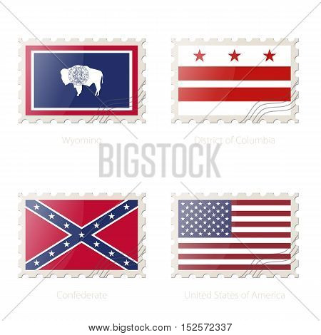 Postage Stamp With The Image Of Wyoming, District Of Columbia, Confederate, United States Of America