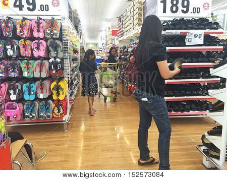 CHIANG RAI THAILAND - OCTOBER 18 : sandal zone in BigC supermarket interior view on October 18 2016 in Chiang rai Thailand. BigC is a very big supermarket chain in Thailand.