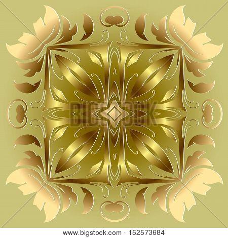 Mandala amulet. Round vintage ornament medallion floral . Esoteric gold symbol