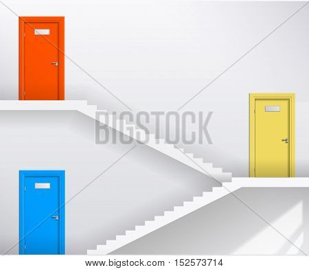 Interior bright white room with stairs and different colored doors. Vector graphics