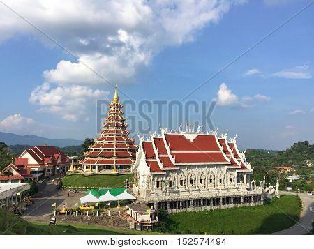 CHIANG RAI THAILAND - OCTOBER 18 : wide shot of Wat Huay pla kang on October 18 2016 in Chiang rai Thailand. Wat Huay pla kang (thai name) major religious attractions of Chiang Rai Thailand.