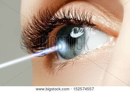 Laser vision correction. Woman's eye. Human eye. Woman eye with laser correction. Eyesight concept. Future technology medicine and vision concept
