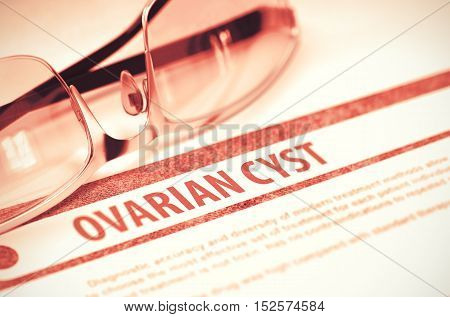 Ovarian Cyst - Medicine Concept on Red Background with Blurred Text and Composition of Eyeglasses. 3D Rendering.