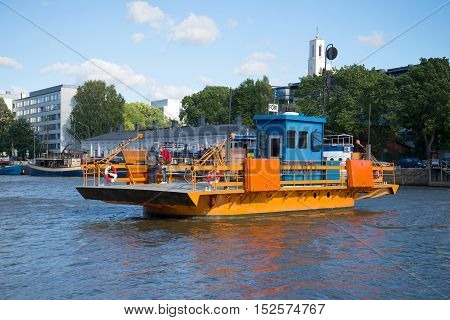 TURKU, FINLAND - AUGUST 27, 2016: River passenger ferry